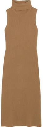 Madeleine Thompson Blanche Ribbed Cashmere Turtleneck Midi Dress - Tan