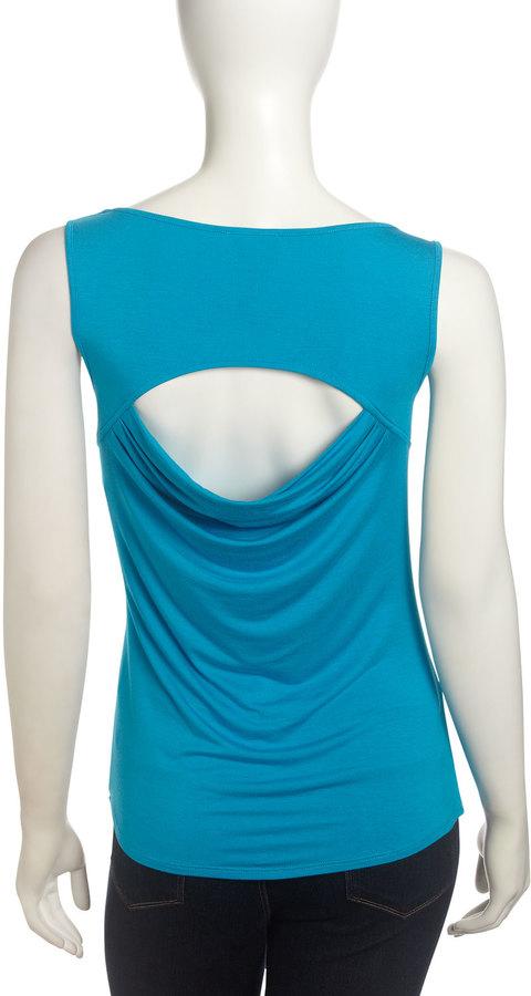 Laundry by Shelli Segal Cutout-Back Sleeveless Blouse, True Blue