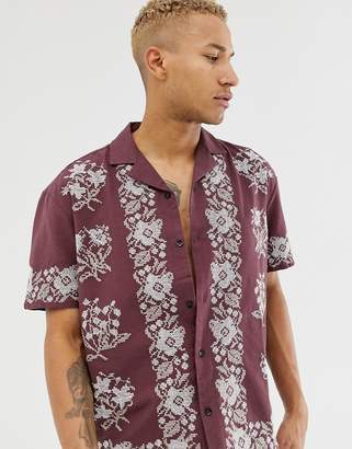 Asos Design DESIGN regular fit shirt with cross stich floral embroidery in burgundy