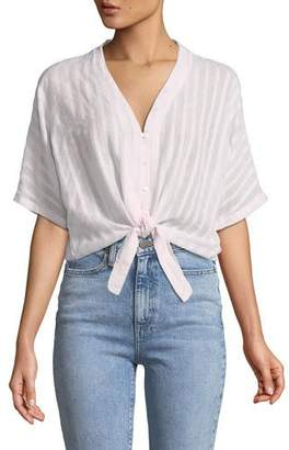 Rails Thea Striped Cotton Tie-Front Top