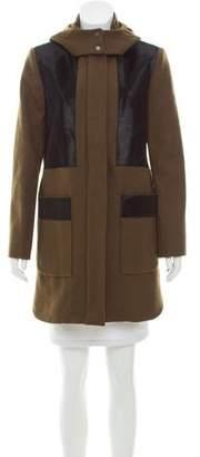 Zac Posen Fur-Trimmed Wool-Blend Coat w/ Tags