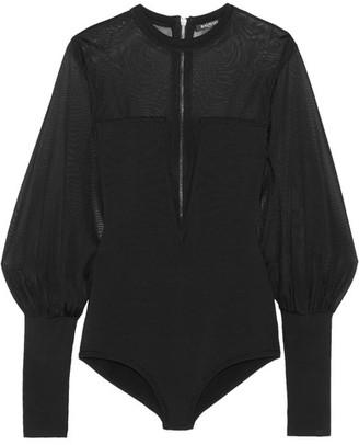 Balmain - Paneled Stretch-knit Bodysuit - Black $2,230 thestylecure.com