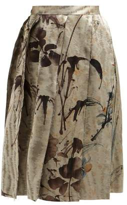 Vivienne Westwood Garret Chinese Jacquard Slit Midi Skirt - Womens - Grey Multi