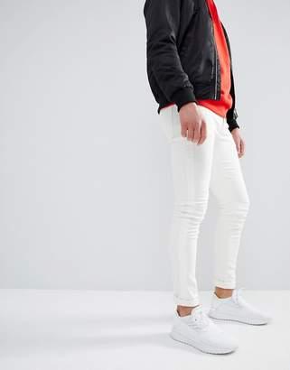 Asos DESIGN Super Skinny Jeans In Ecru With Side Stripe