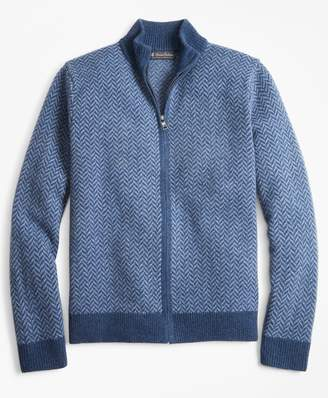 Brooks Brothers Lambswool Herringbone Full-Zip Sweater