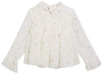 Mayoral Gauze Star-Print Tiered Ruffle Blouse, Size 3-7
