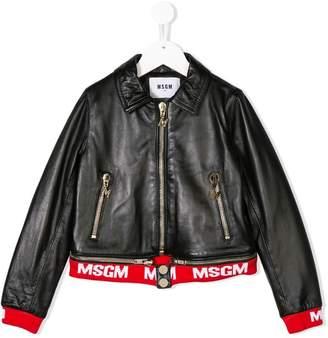 MSGM logo trim biker jacket