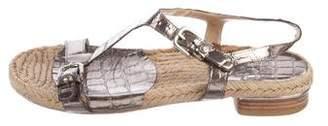 Stuart Weitzman Embosses Ankle Strap Sandals