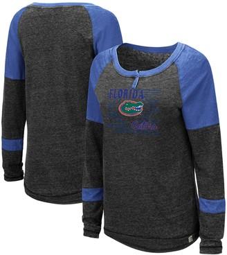 Colosseum Women's Heathered Black Florida Gators Miranda Henley Raglan Long Sleeve T-Shirt