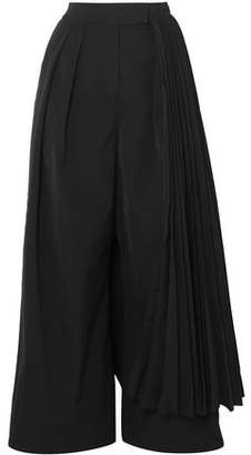 Awake Layered Pleated Twill Wide-leg Pants