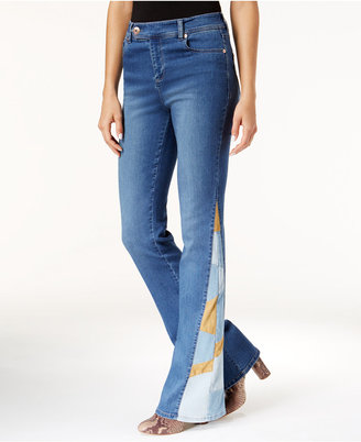 INC International Concepts Rose Wash Patchwork-Inset Flare Jeans, Only at Macy's $99.50 thestylecure.com