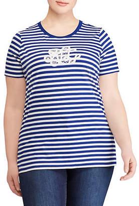 Lauren Ralph Lauren Plus Monogram Striped Cotton Tee