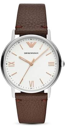 Emporio Armani Kappa Three-Hand Leather Watch, 41mm