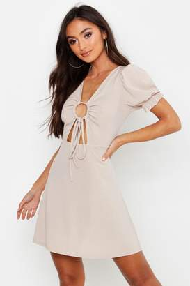 boohoo Petite Rib Ruched Front Puff Sleeve Skater Dress