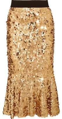 Dolce & Gabbana Ruffled Sequined Tulle Skirt