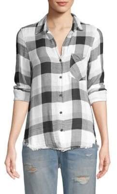 Bella Dahl Frayed Plaid Shirt