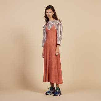 Sandro Knitted Long Dress With Narrow Straps