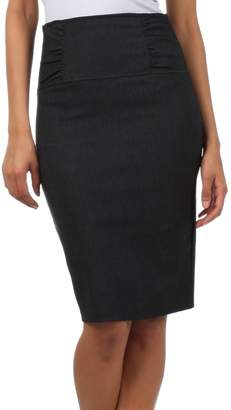 Sakkas IMI-5235 Petite High Waist Stretch Pencil Skirt With Shirred Waist Detail - / S