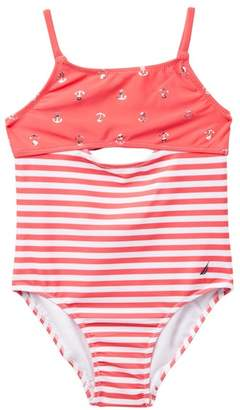 Nautica Stripe & Foil Anchor Print One-Piece Swimsuit (Big Girls)