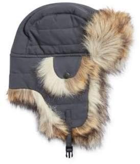 Crown Cap Faux Fur-Trimmed Trapper Hat