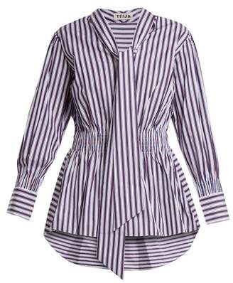 Teija - Striped Tie Neck Cotton Top - Womens - Red Stripe