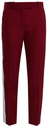 Racil - Aries Side Stripe Skinny Wool Cropped Trousers - Womens - Purple Multi