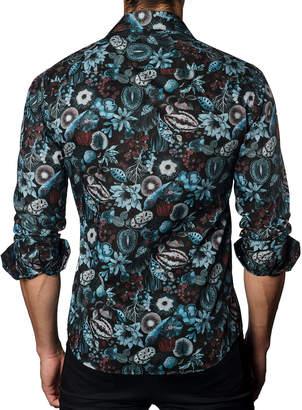 Jared Lang Men's Semi-Fitted Floral-Print Sport Shirt