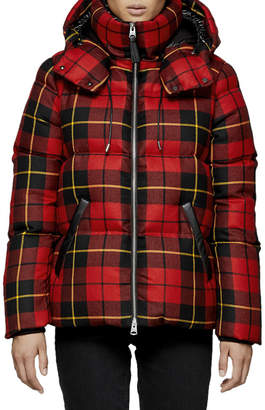 Mackage Miley Plaid Puffer Coat w/ Detachable Hood
