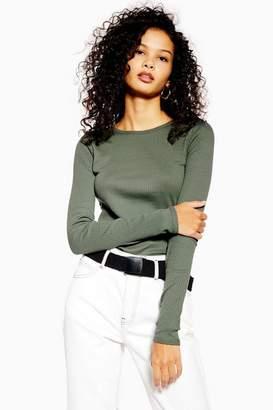 Topshop Womens Tall Long Sleeve Scallop T-Shirt