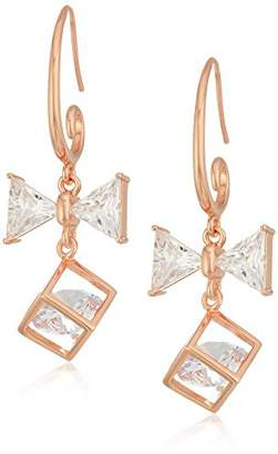 14k Gold Plated Sterling Silver Cubic Zirconia Gift and Bow Dangle Earrings
