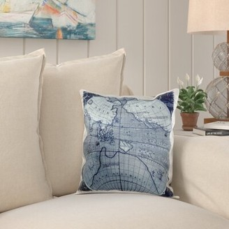 Breakwater Bay Nokes Globe World Map with Asia and America Pillow Cover Breakwater Bay