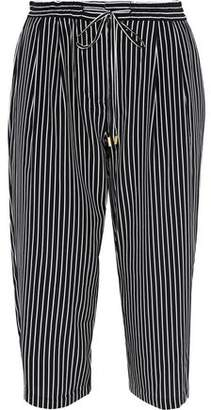 Derek Lam 10 Crosby Cropped Striped Silk-Blend Straight-Leg Pants