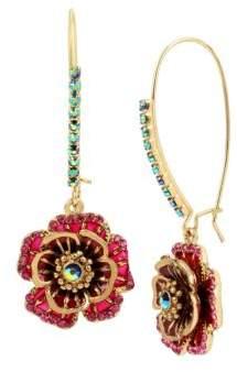 Betsey Johnson Garden of Excess Rose Goldtone Drop Earrings
