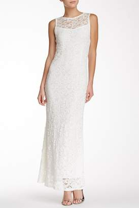 Marina Sleeveless Illusion Yoke Lace Gown $159 thestylecure.com