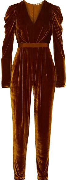 Ulla Johnson - Sabine Ruffled Grosgrain-trimmed Velvet Jumpsuit - Brown