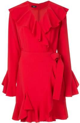 GOEN.J fluted sleeve ruffle trim wrap dress