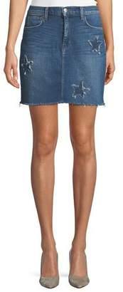 L'Agence Estrella Star-Patch Straight Denim Skirt