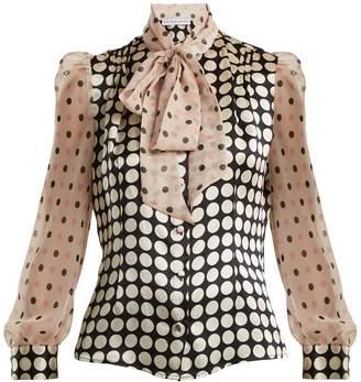 EDELTRUD HOFMANN Pussy-bow contrast-panel polka-dot silk blouse