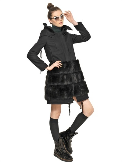 Marni Silver Fox And Wool Felt Coat
