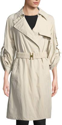 Donna Karan Roll-Sleeve Trench Jacket