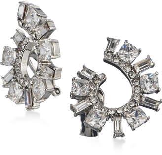 Carolee Silver-Tone Cubic Zirconia Spiral Clip-On Hoop Earrings