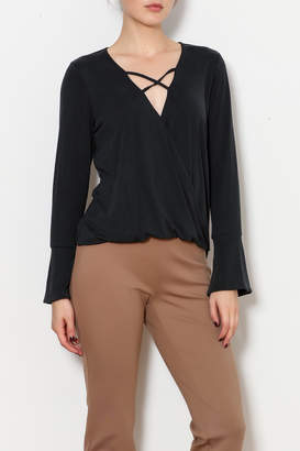 Veronica M Cross Front Bell Sleeve Blouse