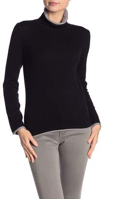 Magaschoni M BY Turtleneck Contrast Trim Cashmere Sweater
