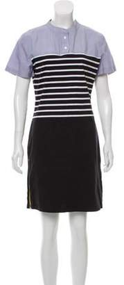 Band Of Outsiders Short Sleeve Stripe-Accented Dress Black Short Sleeve Stripe-Accented Dress