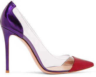Gianvito Rossi Plexi 105 Metallic Leather And Pvc Pumps - Purple
