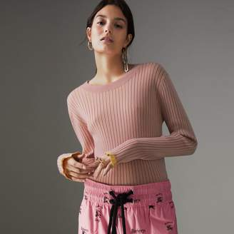 Burberry Rib Knit Cashmere Silk Sweater