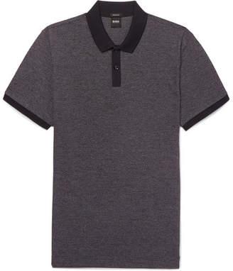 HUGO BOSS Parley Melange Textured-Cotton Polo Shirt - Navy