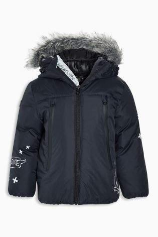 Boys Navy Faux Fur Trimmed Parka (3mths-6yrs) - Blue
