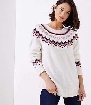 LOFT Petite Swingy Fairisle Sweater