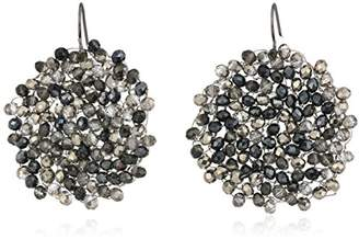 "Kenneth Cole New York Hematite Items"" Hematite and Black and Gray Tonal Beaded Woven Drop Earrings"